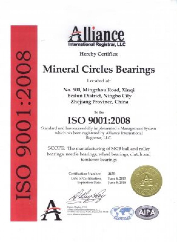 ISO Certification 9001:2008 by Alliance Int'l Registrar L.L.C.
